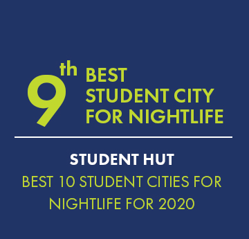9th Best Student City for Nightlife Award graphic - Student Hut Best 10 Student Cities for Nightlife for 2020