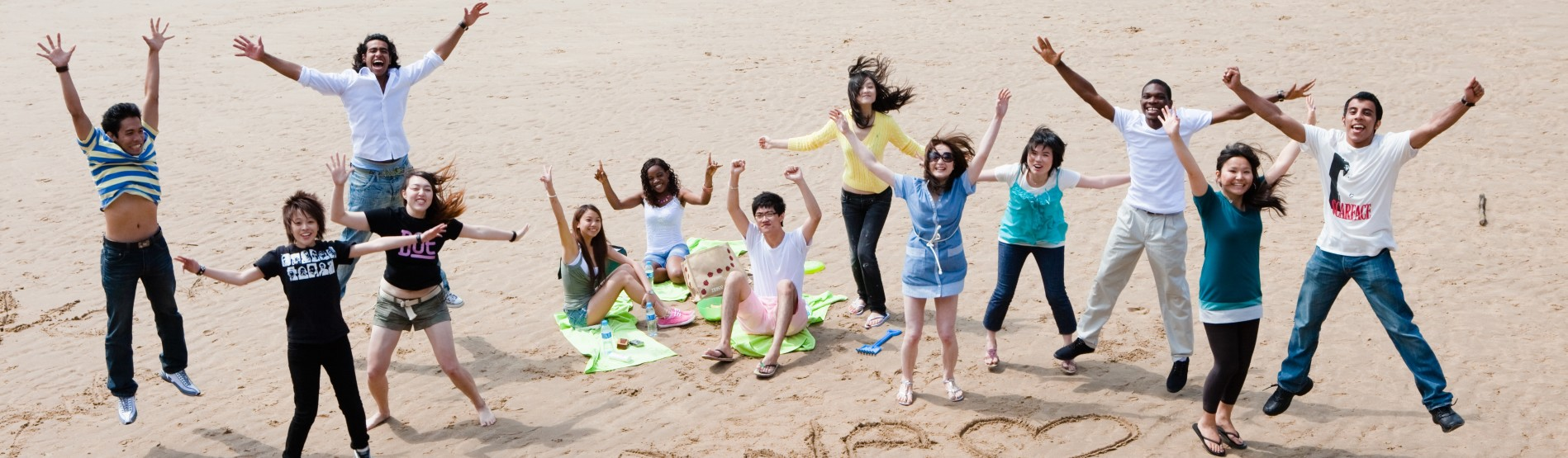 International students on the beach