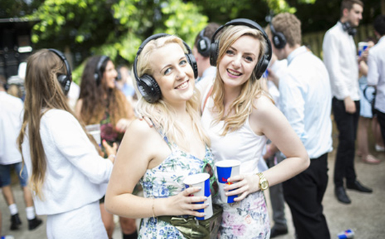 Two female students at Swansea University Summer Ball.
