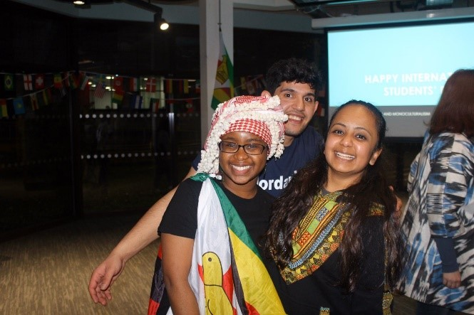 Students having fun at a cultural event