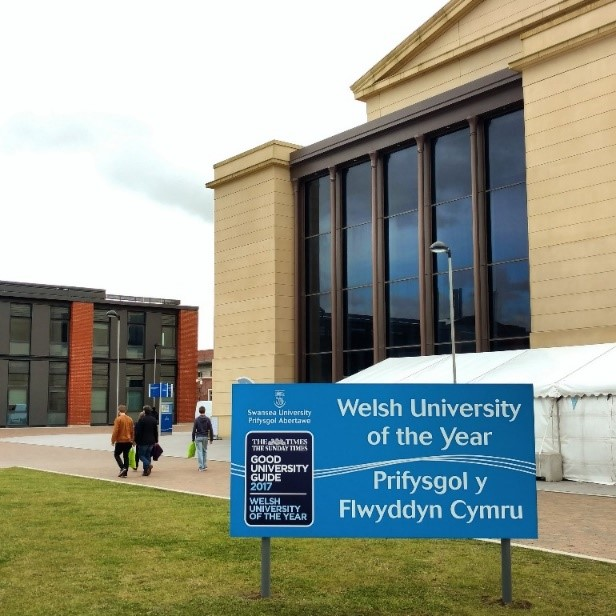 banner on the Bay Campus noting the Welsh Uni of the Year accolade by the Good Univeristy Guide
