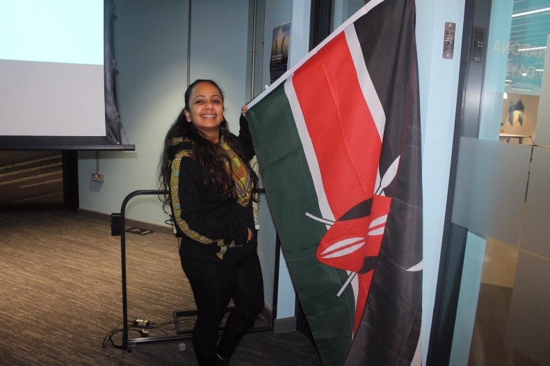Rinal with the flag of Kenya