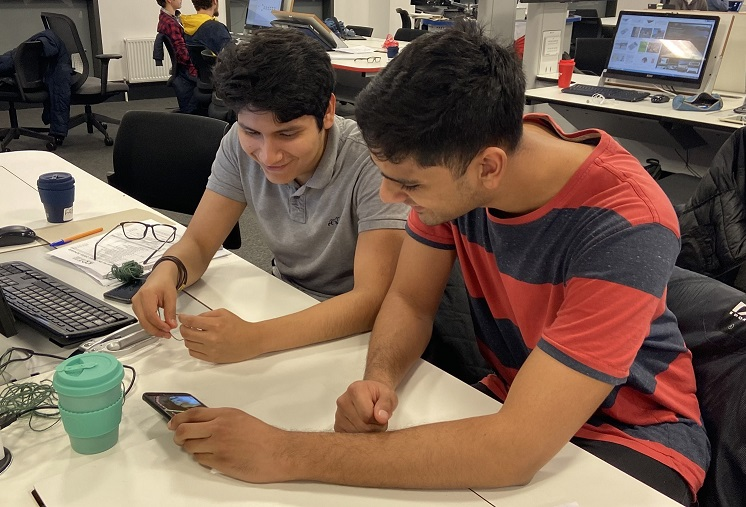 Students working on a prototype