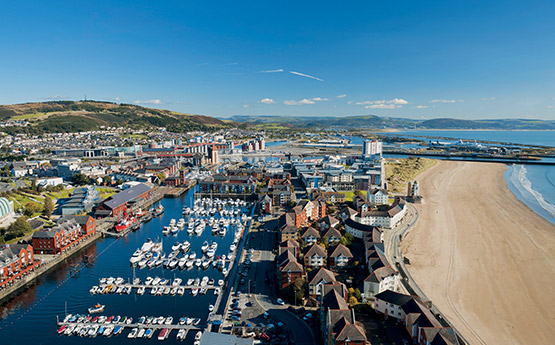 View of Swansea Bay and marina.