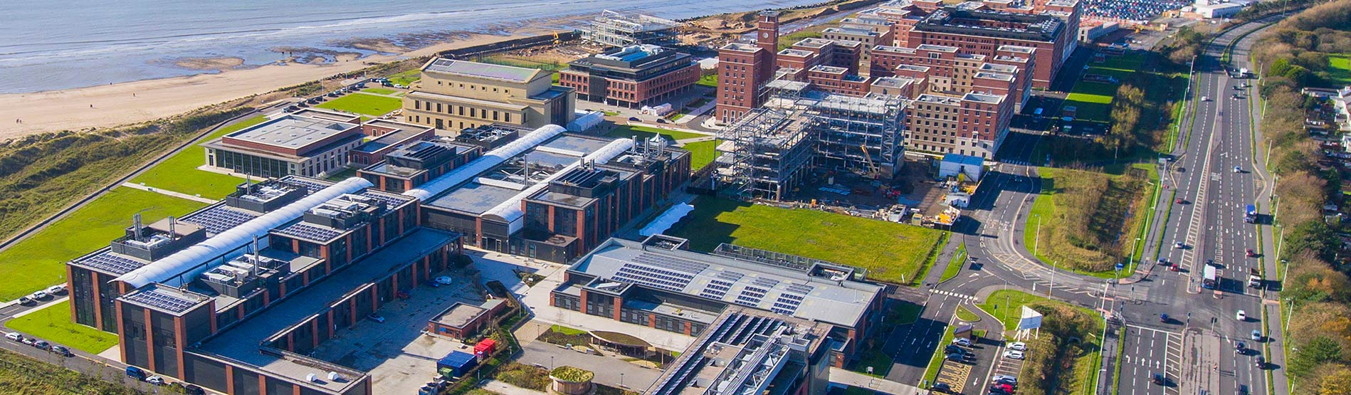 Birds eye view of the bay campus.