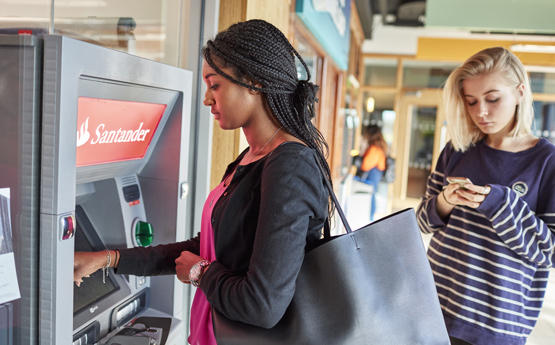 Student at cash point